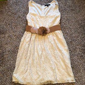 Heart Soul Cream Dress, lined, tank, with belt, XL